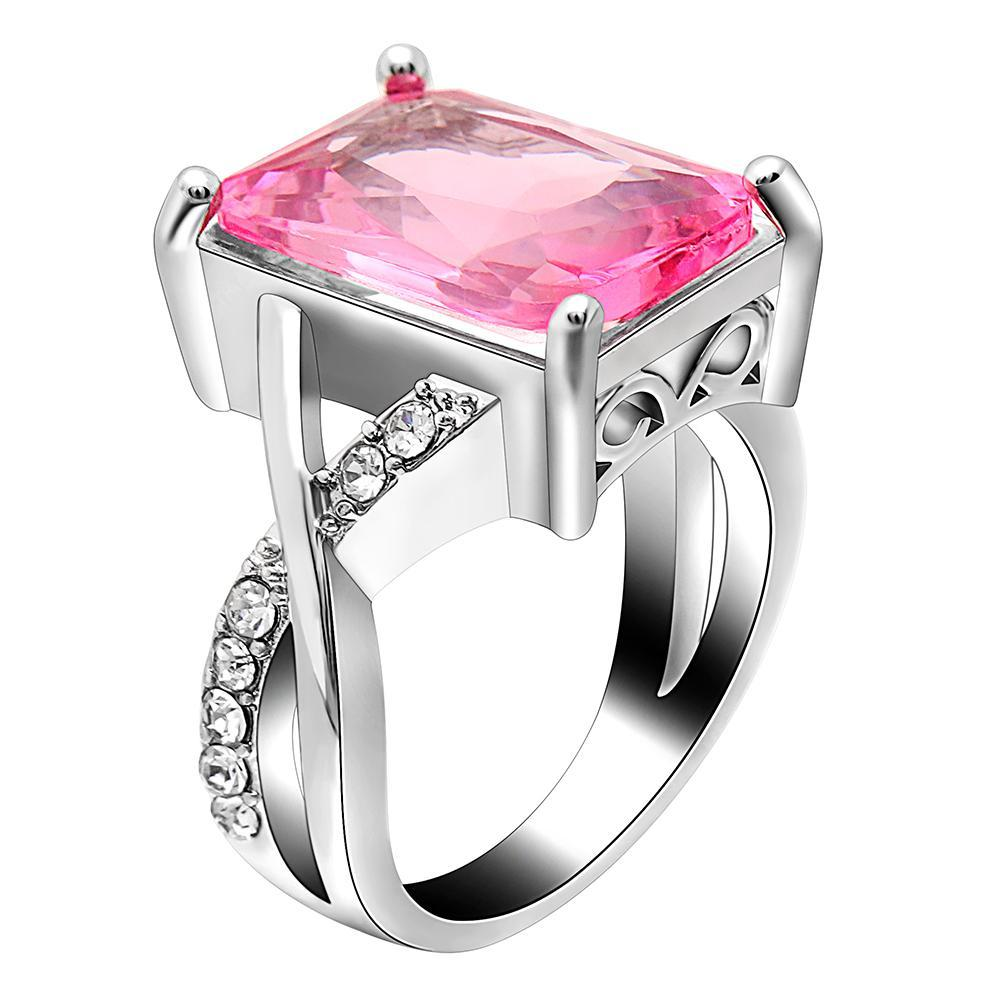 Emerald Cut Pink Crystal Swirl Ring Made with Swarovski Crystal