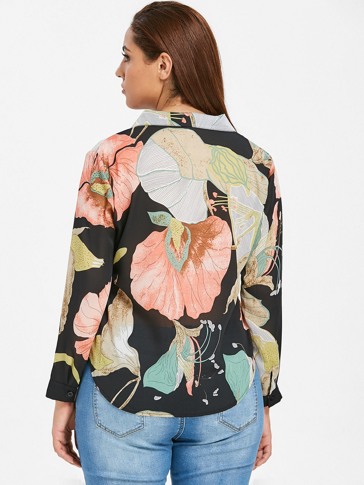 Semi-sheer Floral Plus Size Shirt - olivias-room-boutique
