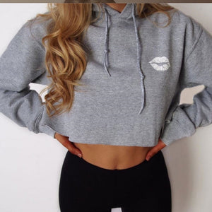 Drawstring Crop Hoodie with Lips - olivias-room-boutique