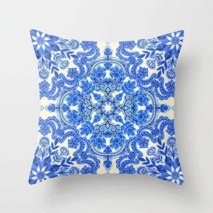 Cobalt Blue & China White Folk Art Pattern Cushion/Pillow - olivias-room-boutique