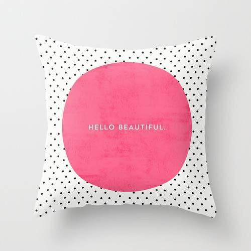 PINK HELLO BEAUTIFUL POLKA DOTS Pillow - olivias-room-boutique