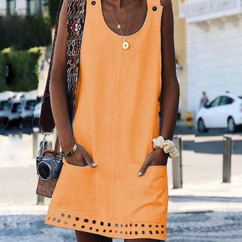 Sleeveless Mini Dress with Pockets /Button Detail/ White /Pink/Orange/Blue/Black/Yellow