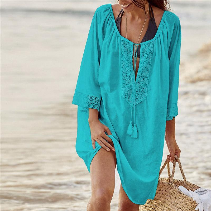 Swim Beach Cover Up Crochet Trim Blue/White/Black - Monsoon Ridge
