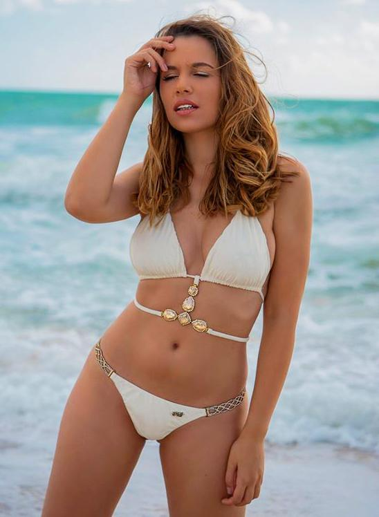 June Strappy Triangle Top & Tango Bottom Glam  Bikini- White