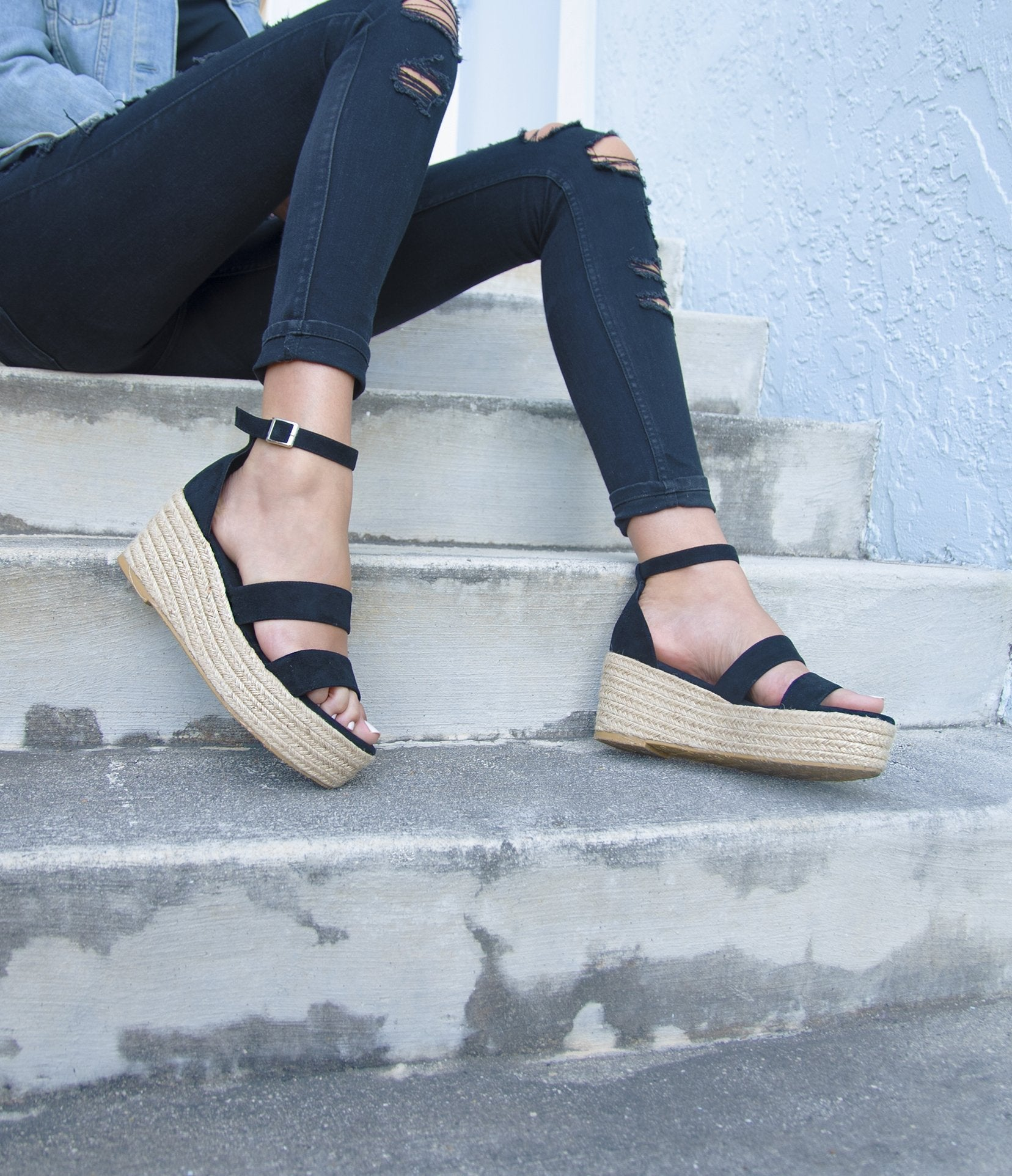 Amara Black Platform Wedges - Monsoon Ridge