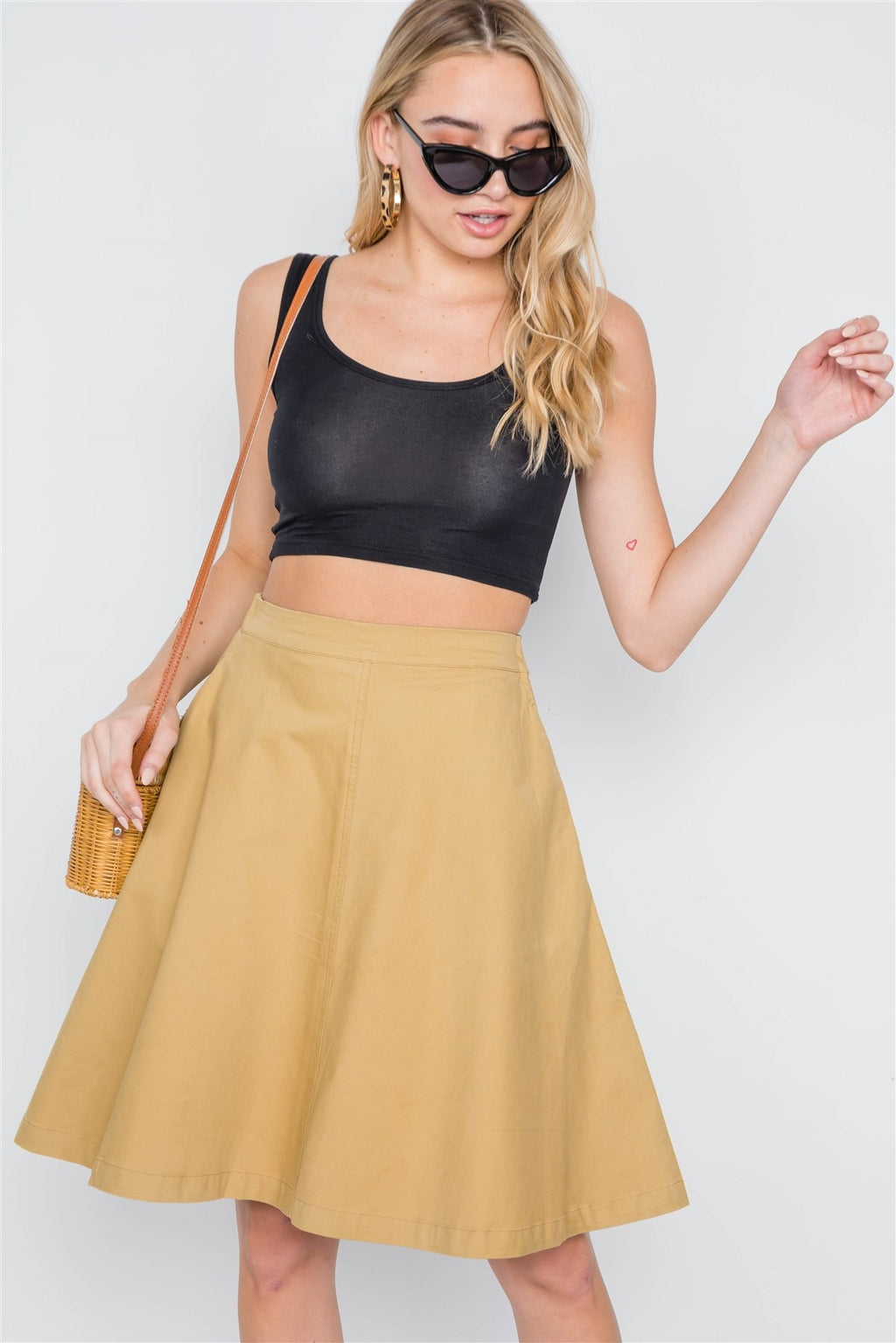 Khaki High Waist Solid A-line Midi Skirt - olivias-room-boutique