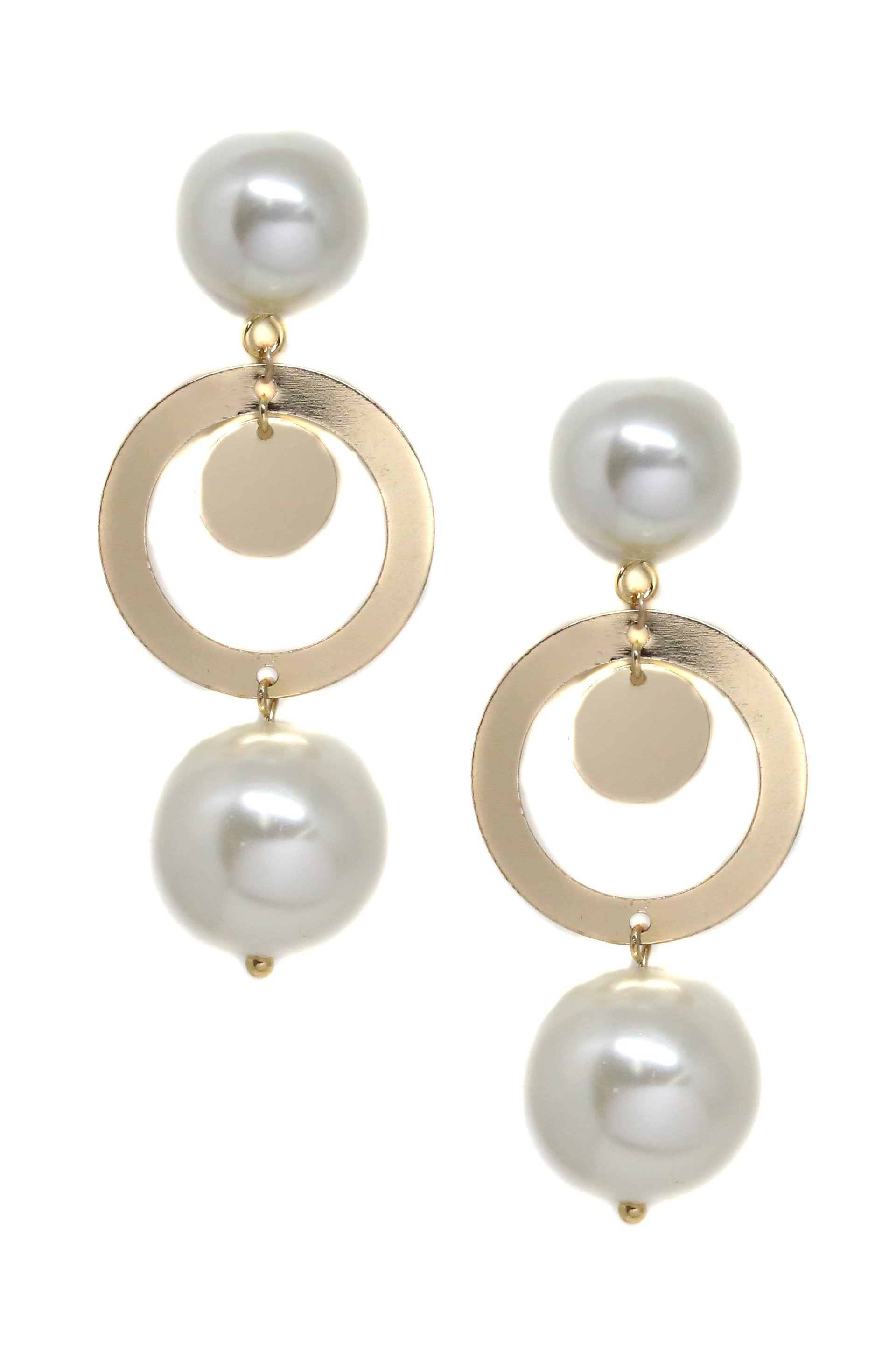 Around The World Pearl 18k Gold Plated Bold Drop Earrings - Monsoon Ridge