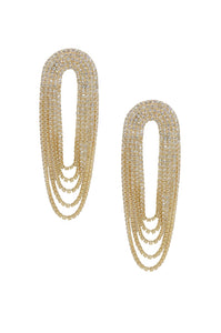 Crystal Drape Glam Earrings 18K Gold Plated/Rhodium - Monsoon Ridge
