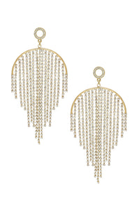 Crystal Chandelier Fringe 18k Gold Plated Earrings - Monsoon Ridge