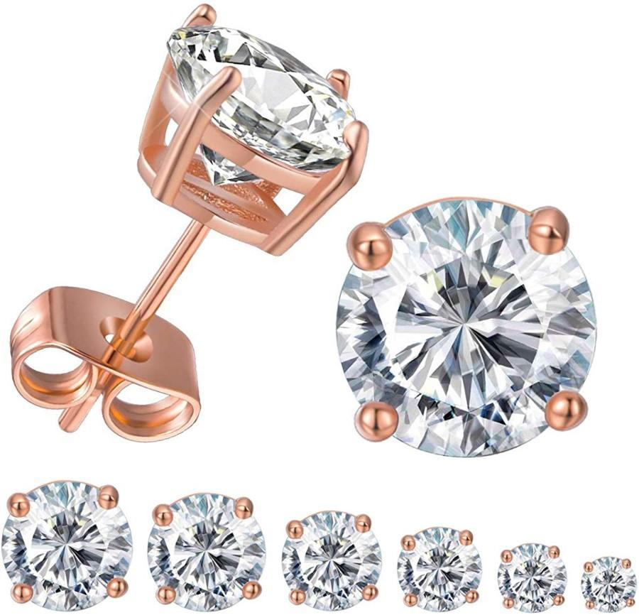 6 Piece Graduating Classic Swarovski Elements Studs in 14K Rose Gold Plated - Monsoon Ridge