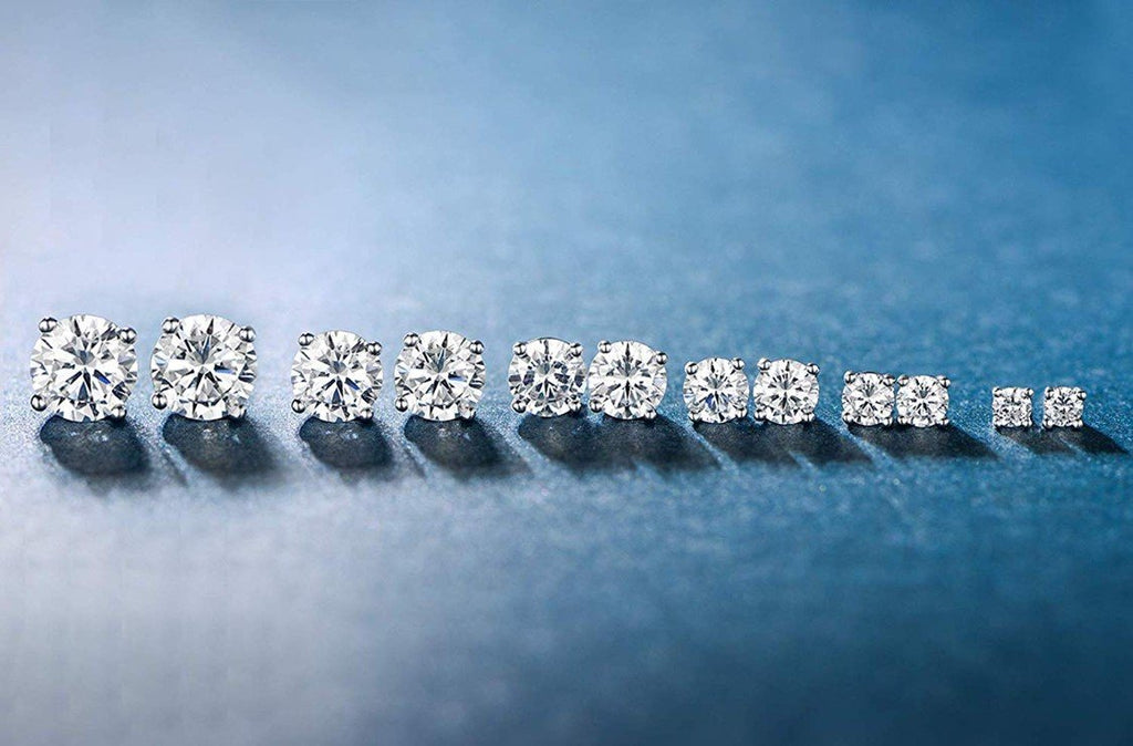 6 Piece Graduating Classic Swarovski Elements Studs in 14K White Gold Plated - Monsoon Ridge
