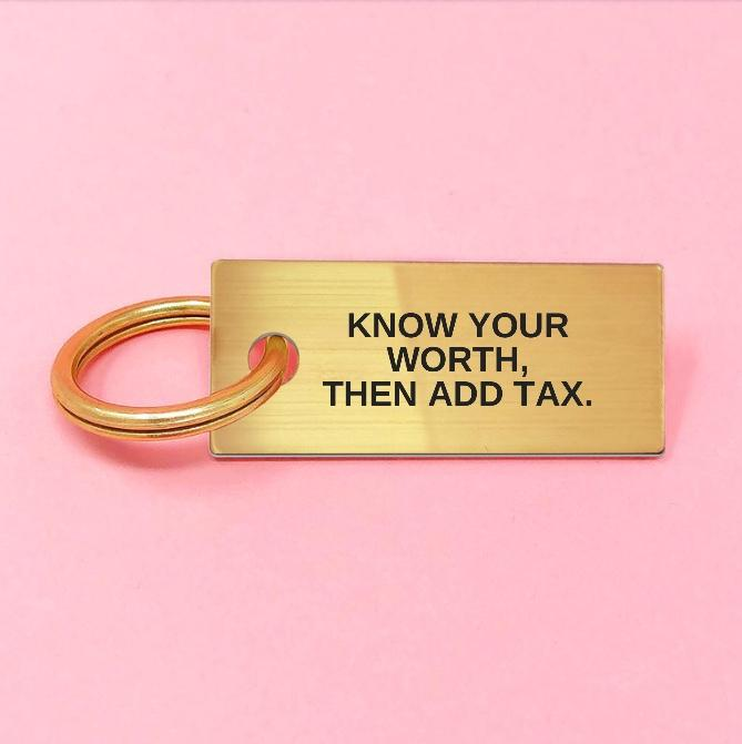 KNOW YOUR WORTH Keychain Gold