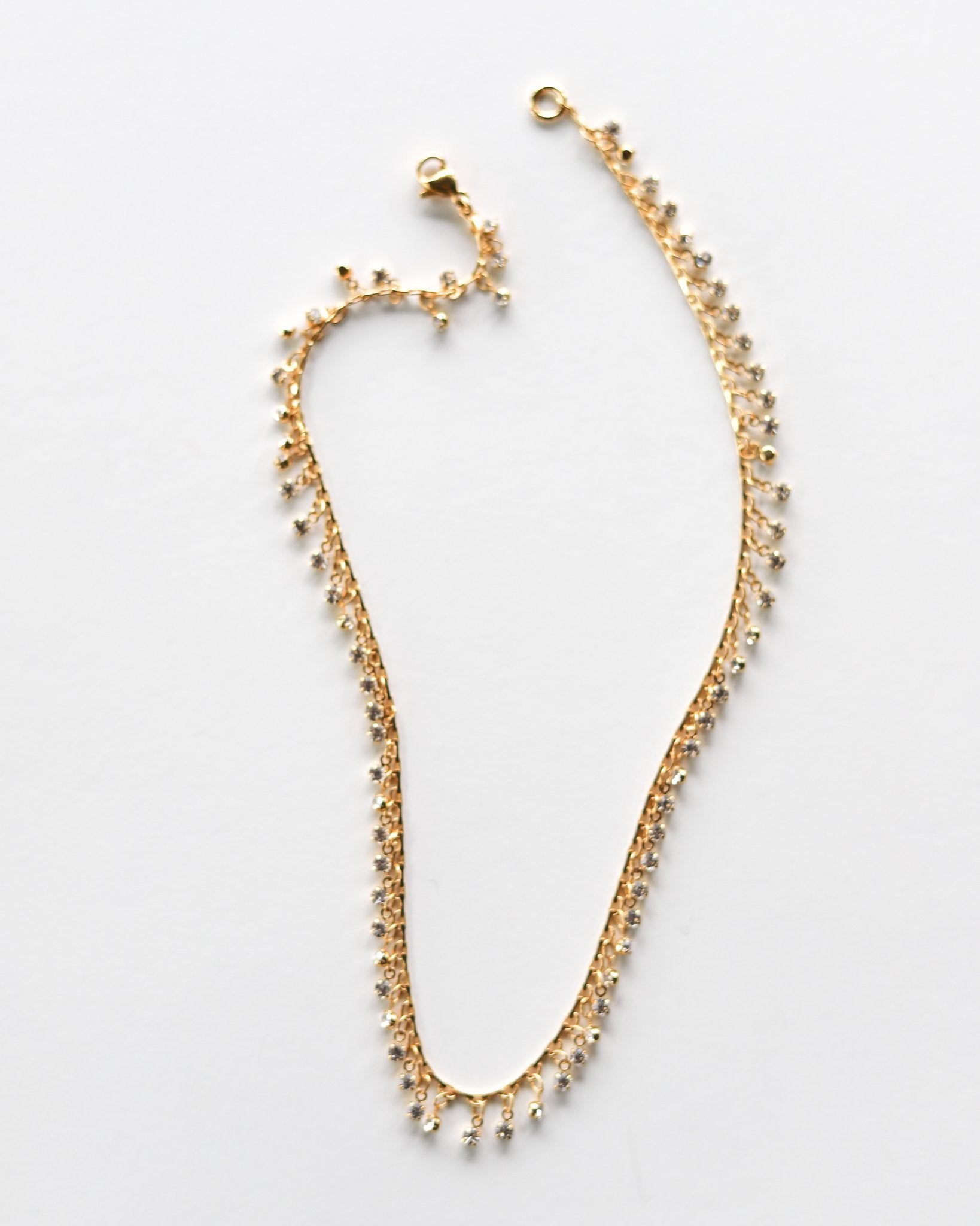Crystal Drop Gold Chain Choker Necklace - Monsoon Ridge