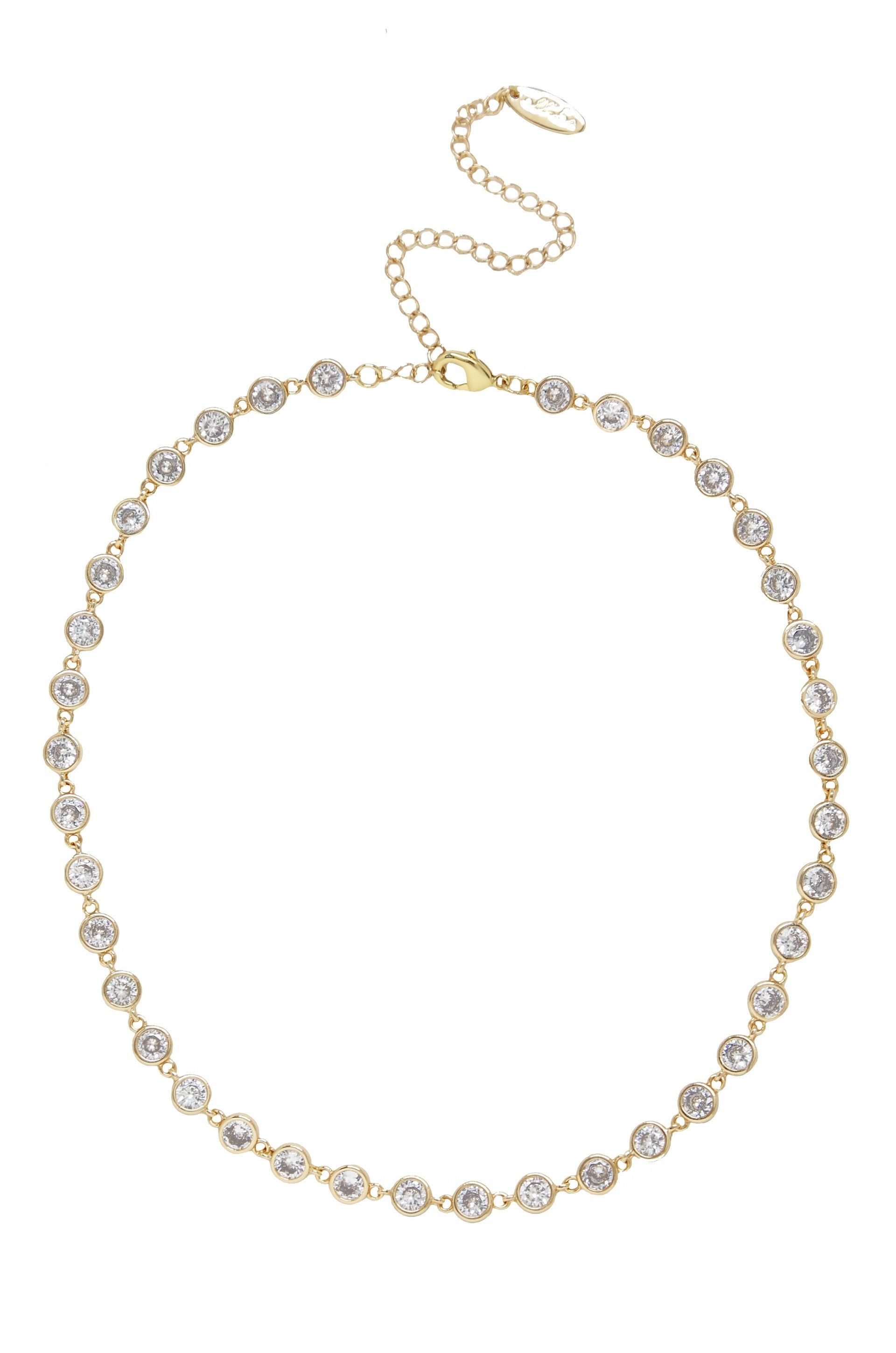 Crystal Disc and 18k Gold Plated Link Necklace - Monsoon Ridge