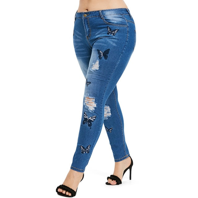 Plus Size Distressed Embroidered Jeans - olivias-room-boutique