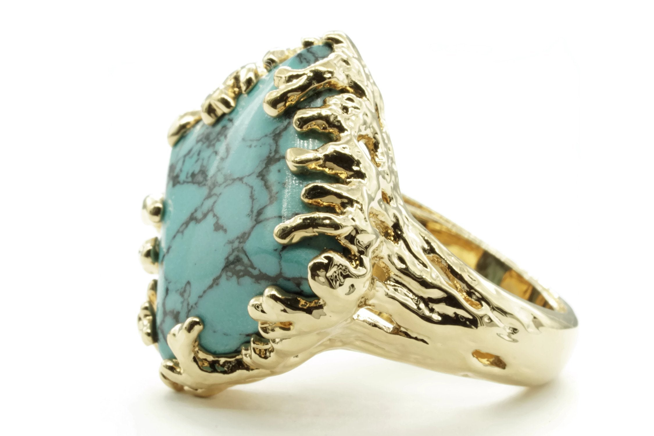 Coral Wrapped Offset Square Simulated Turquoise Adjustable Ring