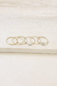 Dainty 18k Gold Plated Stacking Rings Set of 6