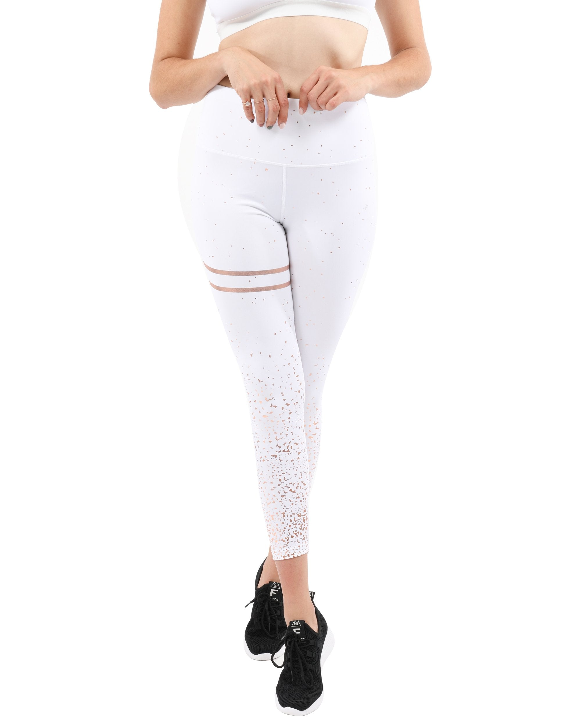 High Waisted Compression Leggings White/Gold Metallic Trim - Monsoon Ridge