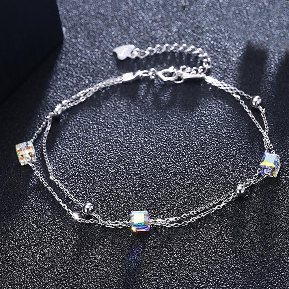 5.00 CT Aurora Borealis Stones Sterling Silver Charm Bracelet - Monsoon Ridge