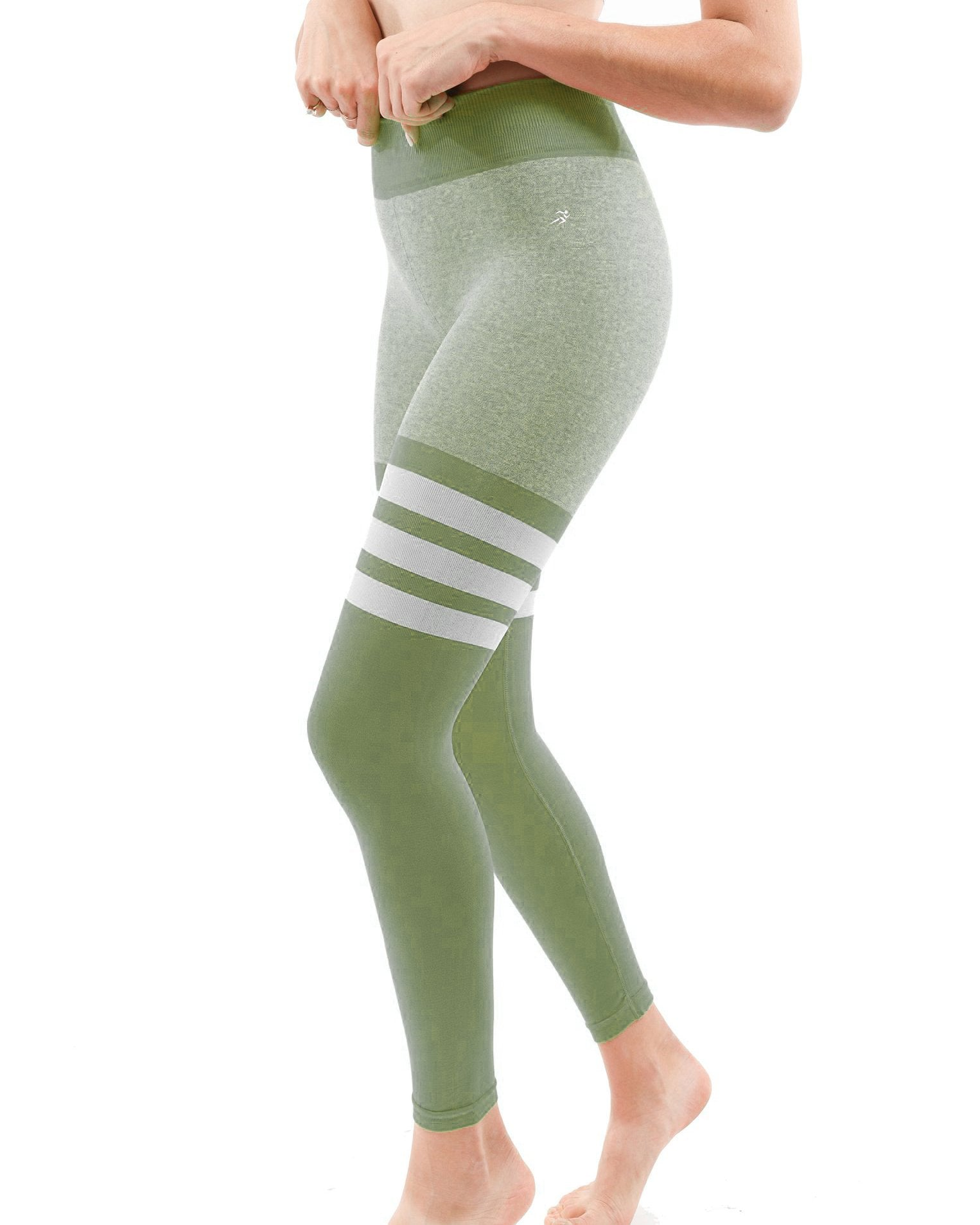 Cassidy High Waist Legging with Thigh Stripes - Green - Monsoon Ridge