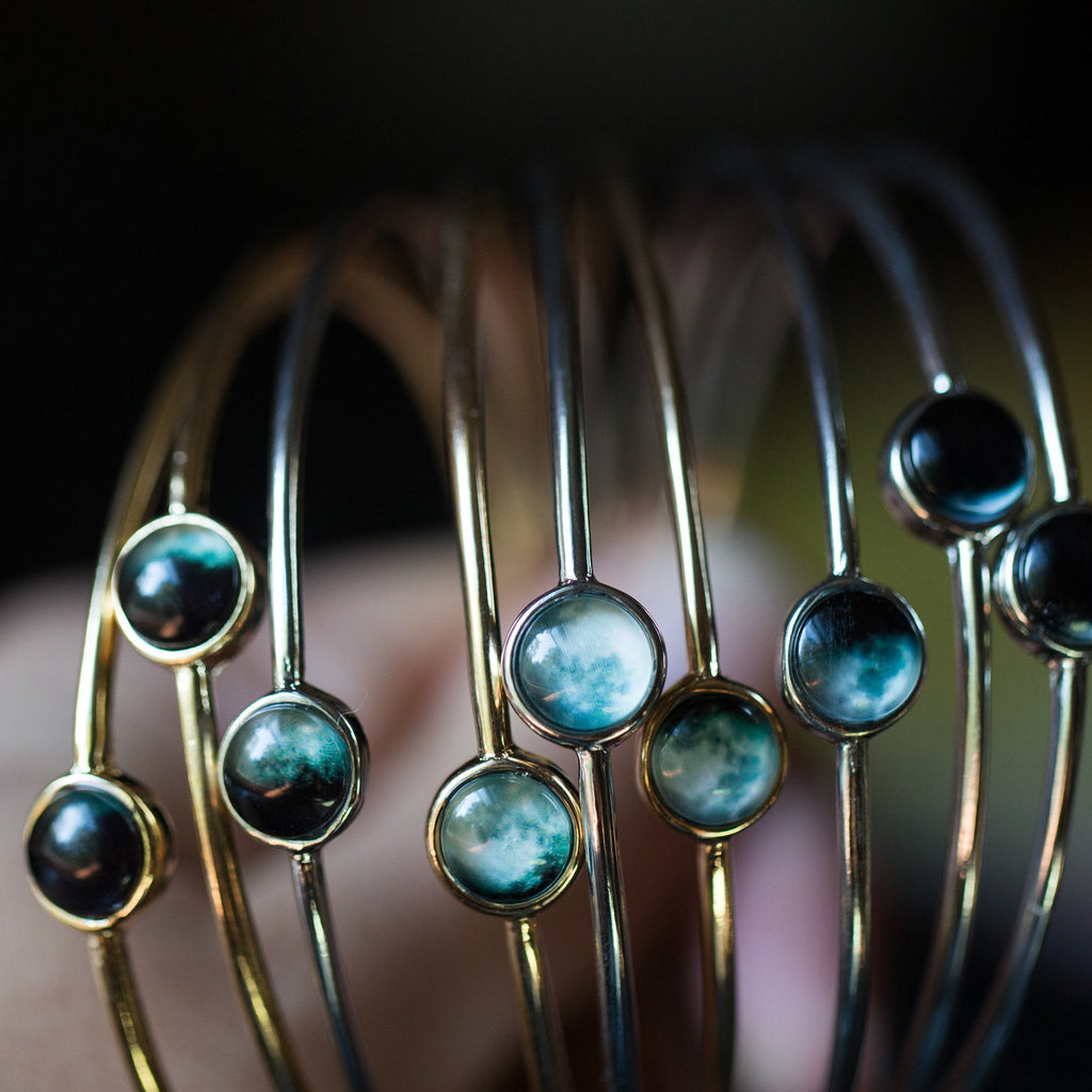 Moon Phase Stacked Bangle Set of  9 - Monsoon Ridge