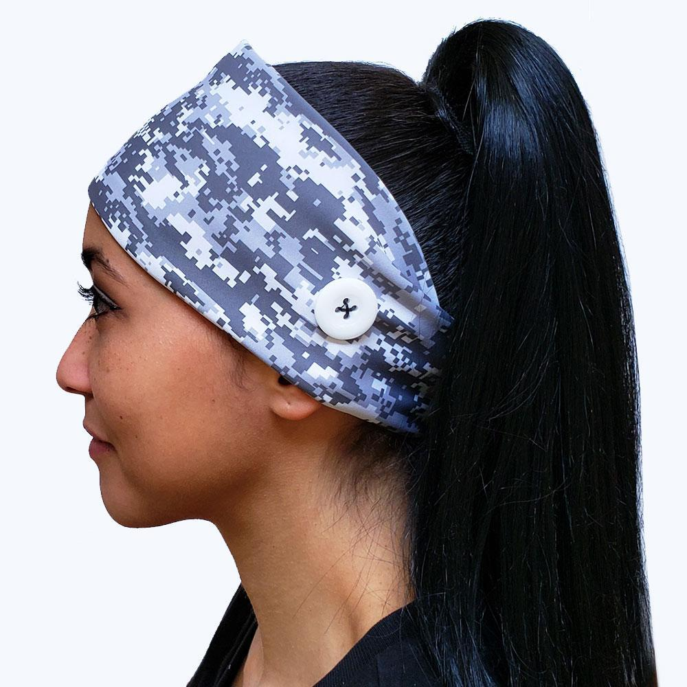 Digital Gray Camo Headband w/ Buttons for Mask