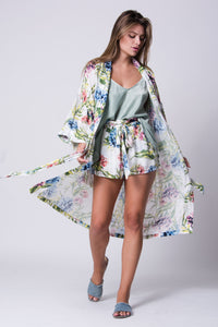 Island Floral Bouquet Full Length Duster/Kimono/Cover Up - Monsoon Ridge