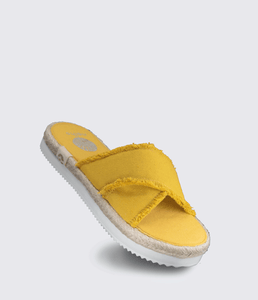 Kamala Frayed Edge Slip On Sandals Yellow - Monsoon Ridge
