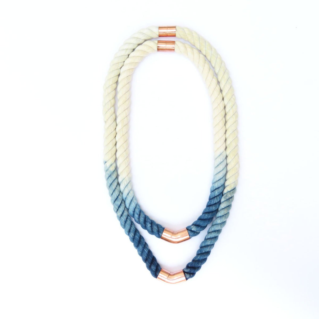 Handcrafted Natural Cotton Fiber Rope Necklace Dip Dyed Indigo - Monsoon Ridge