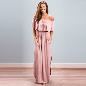 Maxi Sheath Dress  Solid Colored  Boat Neck Blue Black Blushing Pink M L XL - olivias-room-boutique