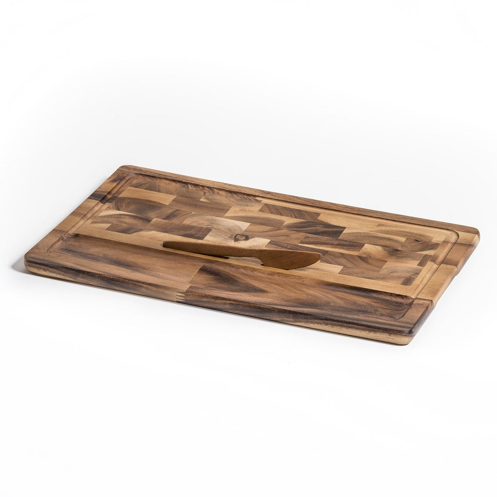 Bornholm End Grain Large Cheese Board with Knife - Monsoon Ridge