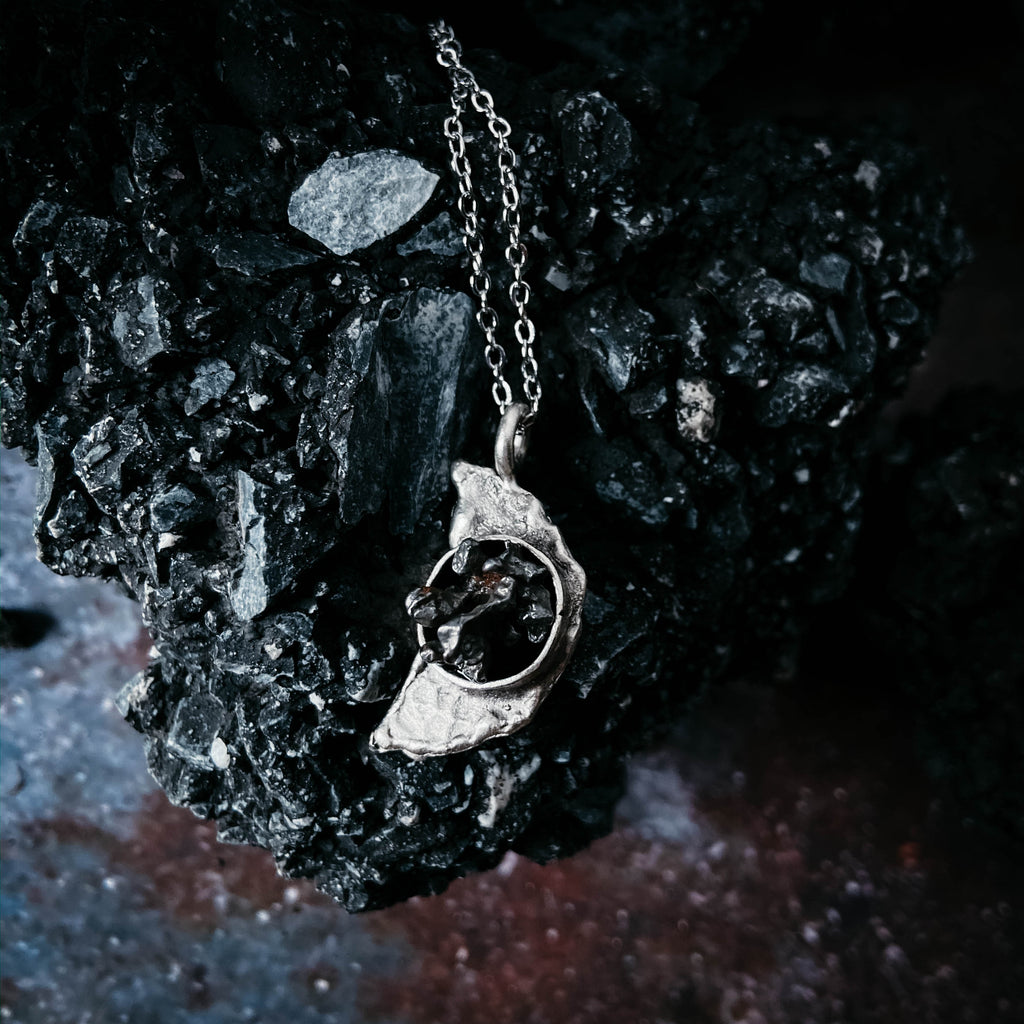 Crescent Moon Necklace with Authentic Meteorite - Monsoon Ridge