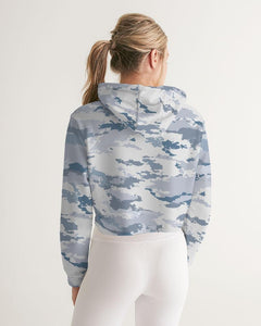 White Camo Cropped Long Sleeve Hoodie