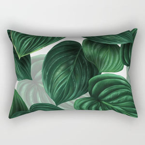 Tropical Island Green Leaf Print Rectangular Pillow - Monsoon Ridge