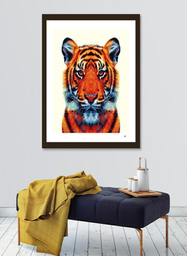Tiger - Colorful Animals  Frame - olivias-room-boutique