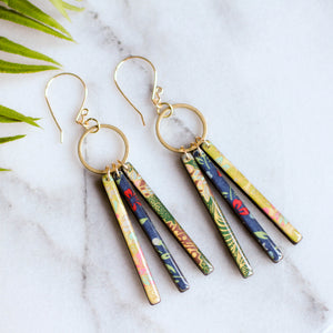 Collage Fringe Earrings- Green/Blue