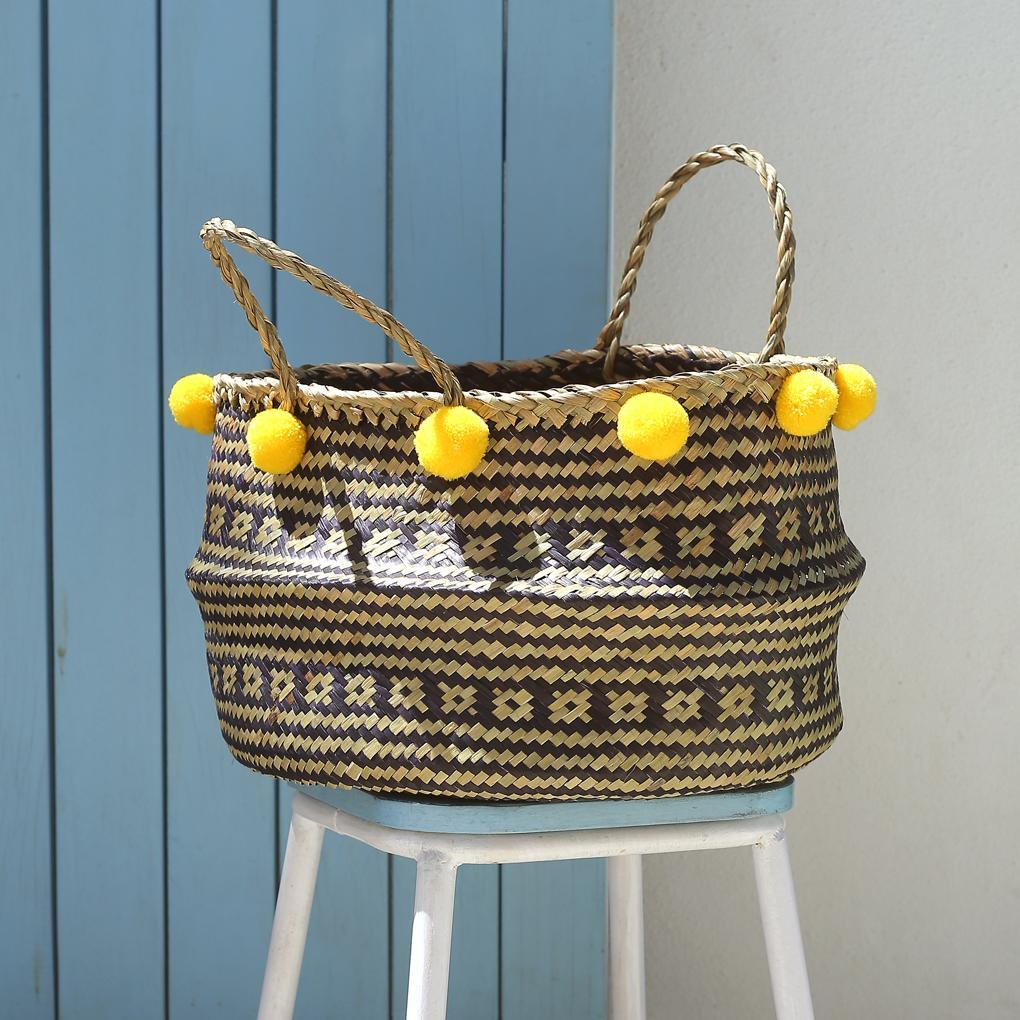"Borneo ""Huma"" Wide Hand Woven Straw Basket - with Lemon Yellow Pom-poms - Monsoon Ridge"