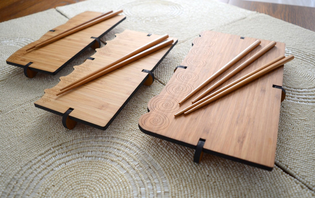 Handcrafted Bamboo Sushi Serving Sets/ Board with Chopsticks - Monsoon Ridge