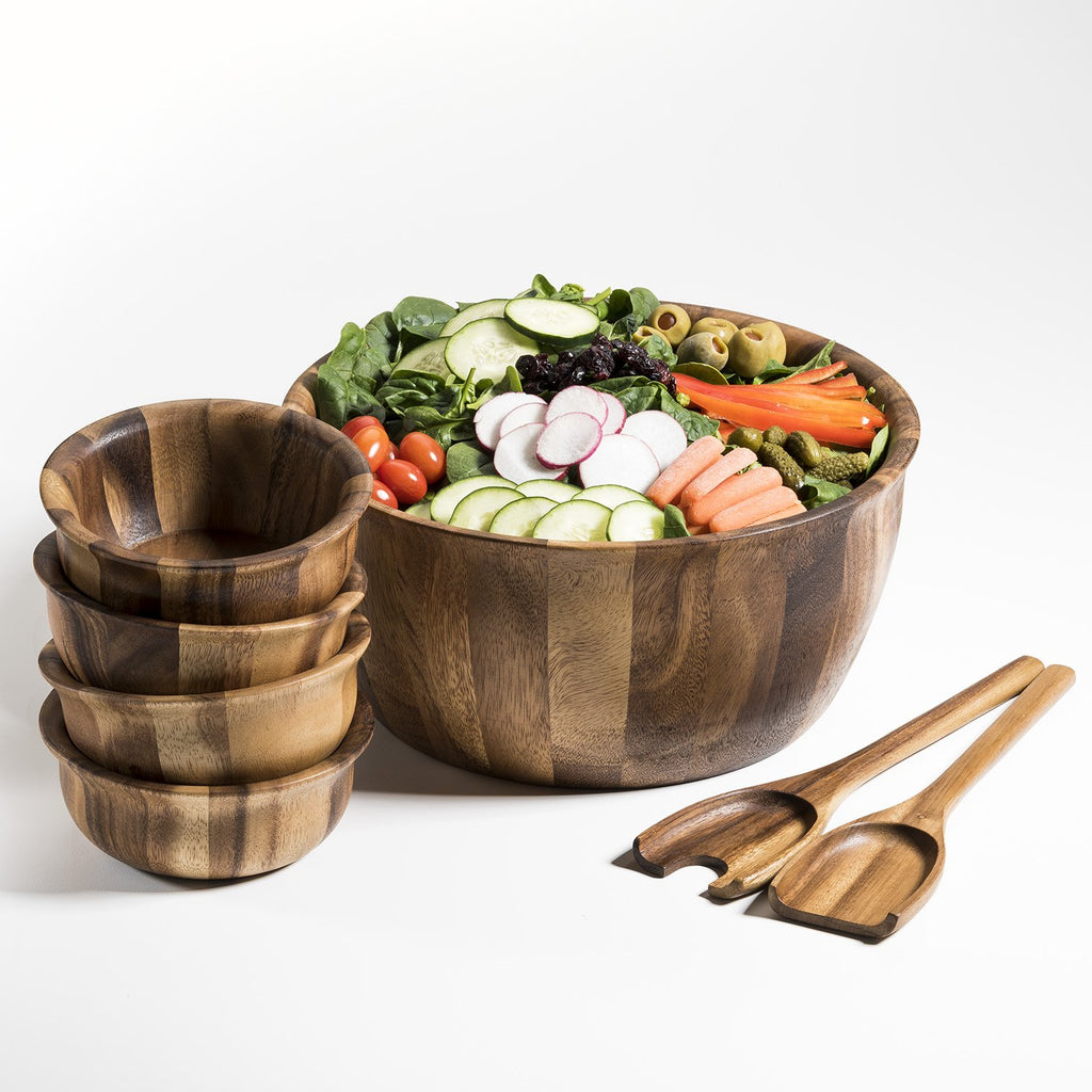 Soro Xtra Large Salad Bowl with Servers & 4 Individual Bowls - Monsoon Ridge