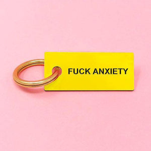 F ANXIETY Keychain Gold/Blk/Yel/Pink - Monsoon Ridge