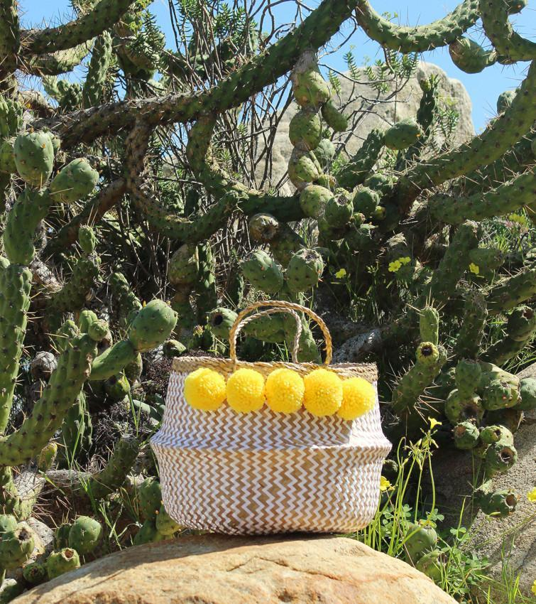 BORREGO X BORNEO No. 2 - Woven Straw Basket Bag Yellow Poms - Monsoon Ridge