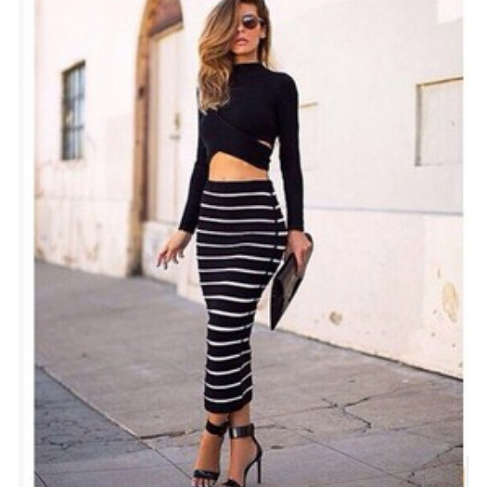 Bodycon Maxi Skirt Striped Black S M L - olivias-room-boutique