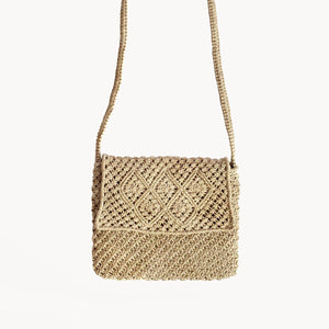 Handwoven Crossbody Macrame Bag Natural Fair Trade - Monsoon Ridge