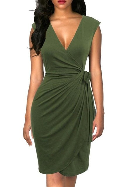 Faux Wrap Dress Assorted - olivias-room-boutique