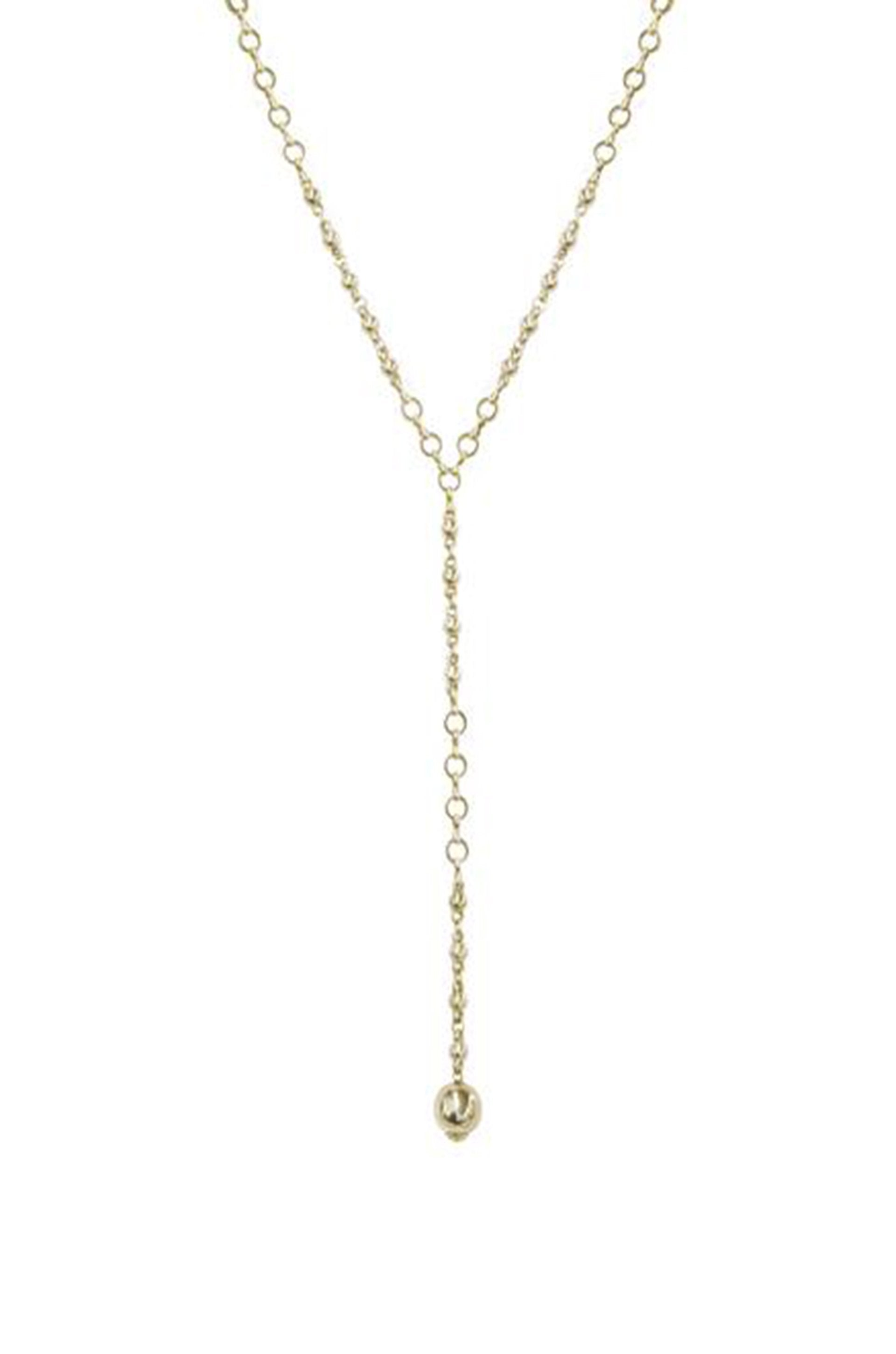 Always Guided 18k Gold Plated Chain Link Lariat Necklace - Monsoon Ridge