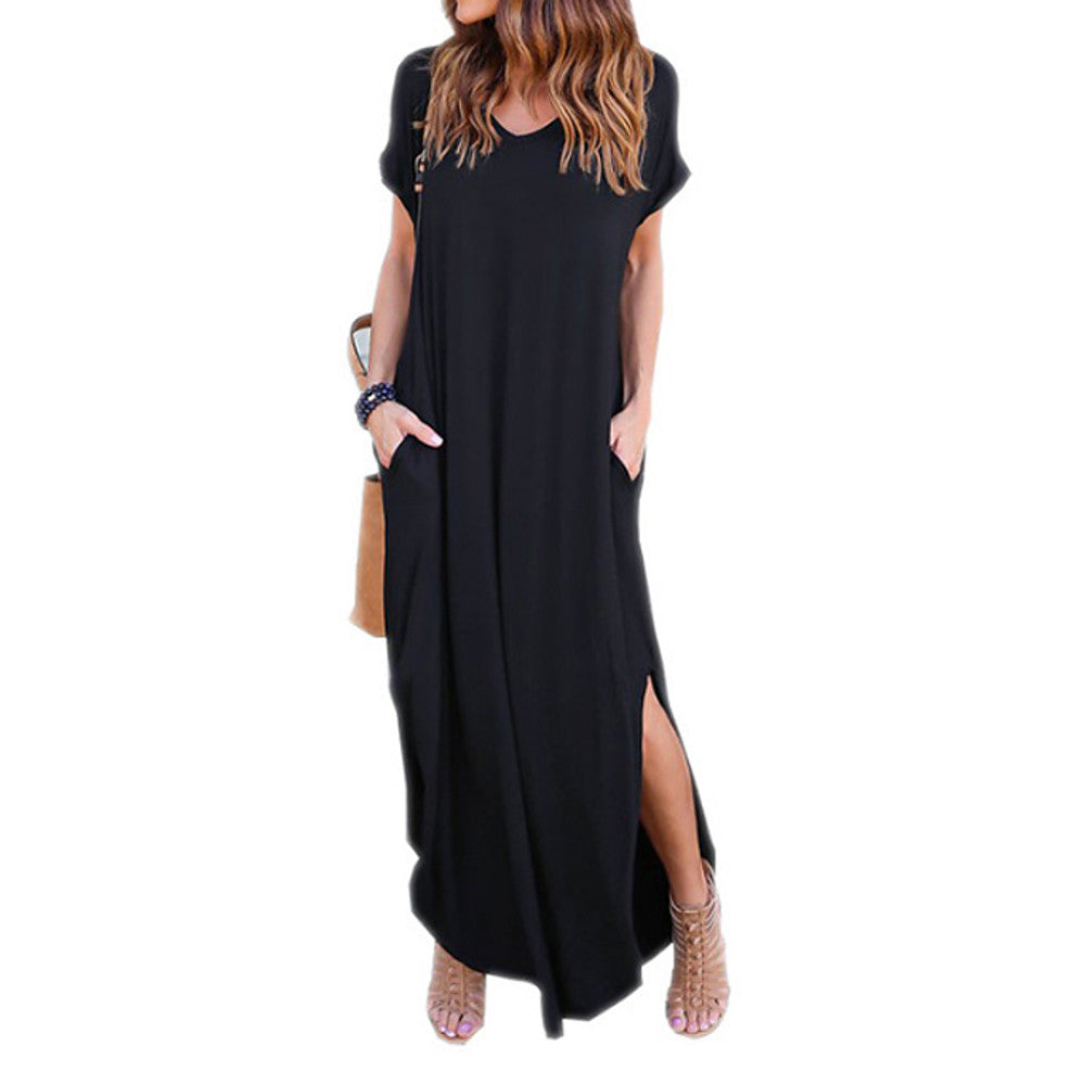 Maxi Loose Tunic Dress- Solid  Black Gray Wine Blue M L XL / Slim - olivias-room-boutique