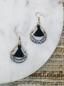 Lauper Black & White Hoop Earrings