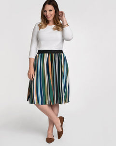 Boardwalk Bliss Stripe Skirt Plus Size - Monsoon Ridge