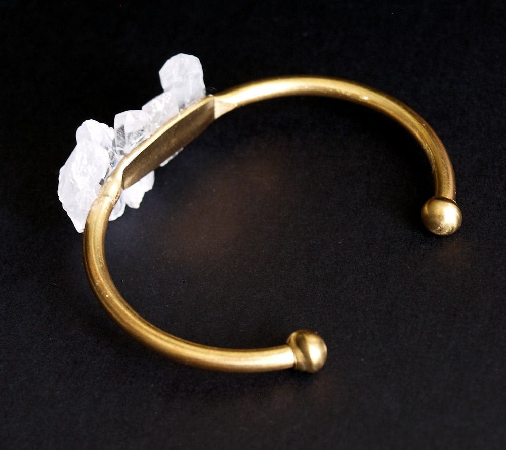Quartz and Gold Bangle, Quartz Bracelet