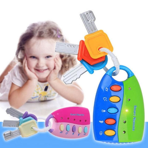 Image of Puzzle Music Car Key Toy Colorful Flash Music Smart Remote Control Several Car Sounds Pretend To Play Baby Toys